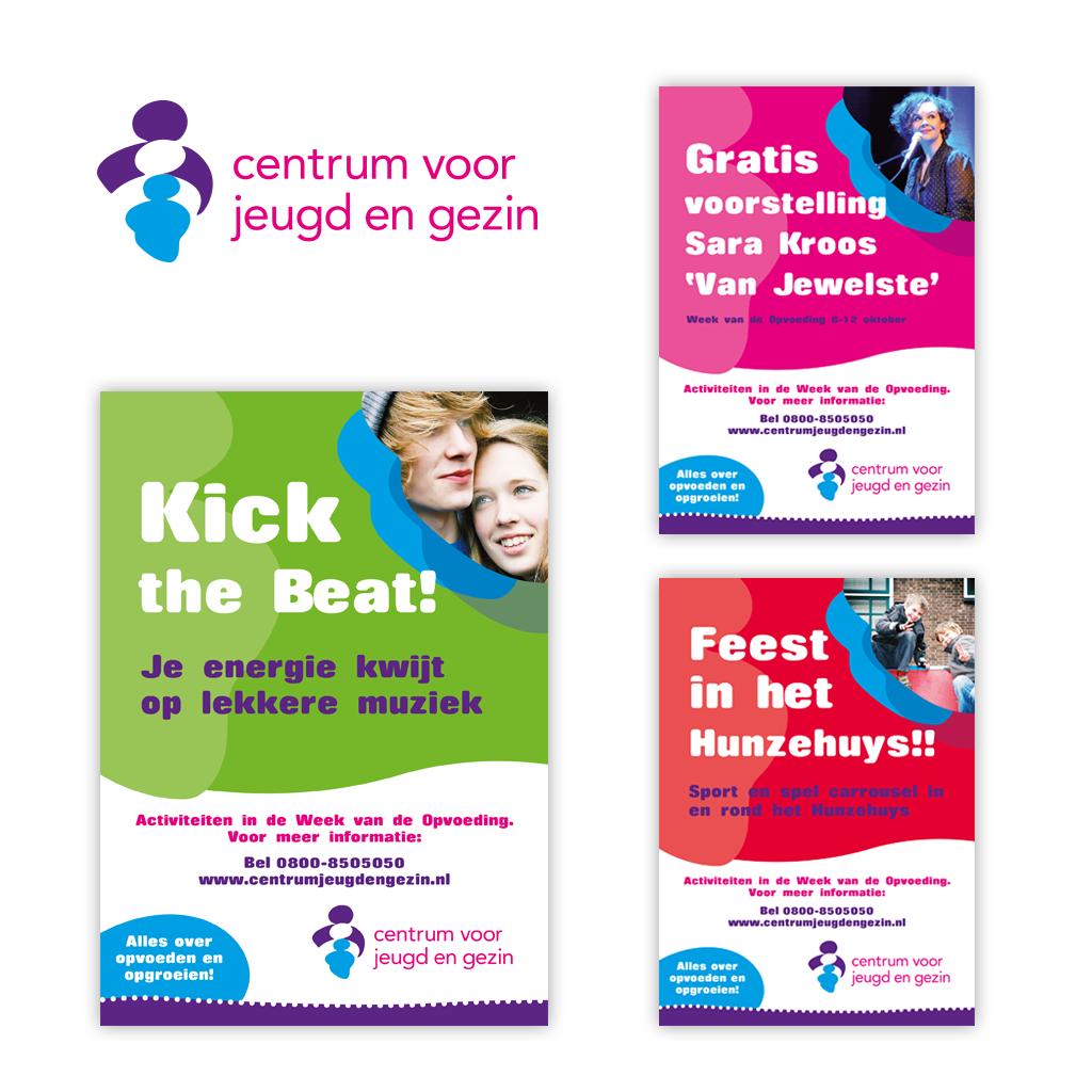 Ontwerp Centrum voor Jeugd en Gezin posters en flyers