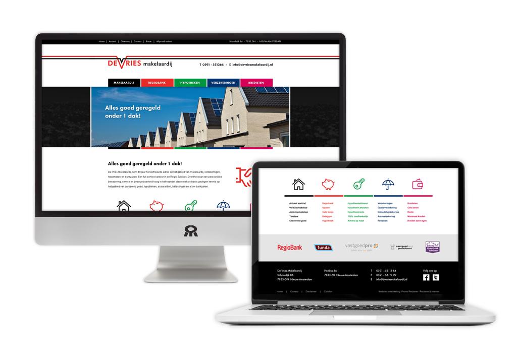 Ontwerp en ontwikkeling De Vries Makelaardij website