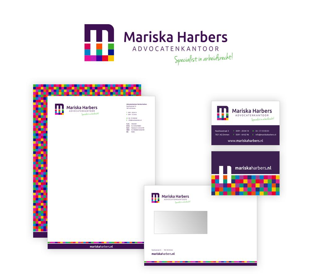 Ontwerp Advocatenkantoor Mariska Harbers logo en huisstijl