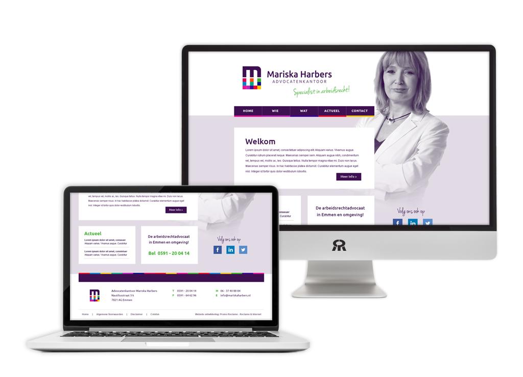 Ontwerp en ontwikkeling Advocatenkantoor Mariska Harbers website