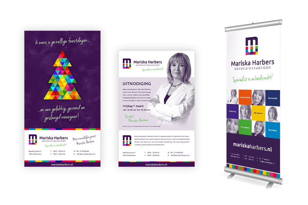 Ontwerp Advocatenkantoor Mariska Harbers advertenties en roll up banner