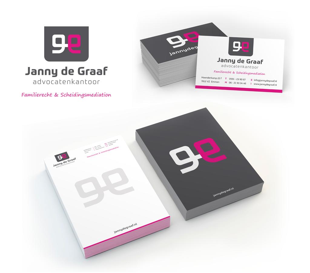 Ontwerp Advocatenkantoor Janny de Graaf logo en huisstijl