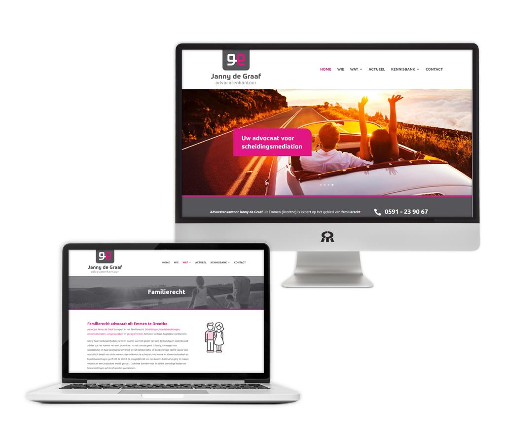 Ontwerp en ontwikkeling Advocatenkantoor Janny de Graaf website