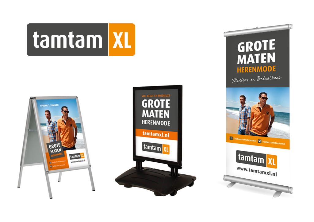 Ontwerp TamTam XL logo en diverse promotiemateriaal