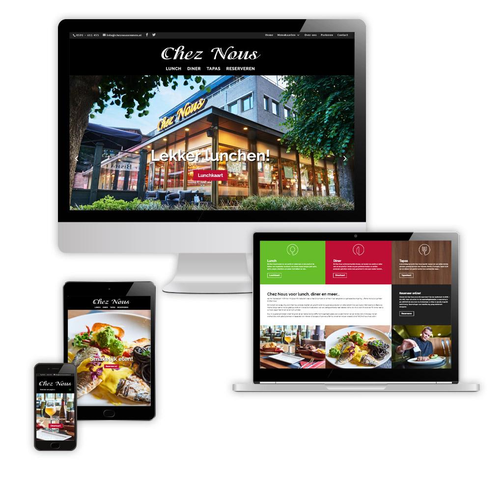 Ontwerp en realisatie website Chez Nous - Lunch & Diner